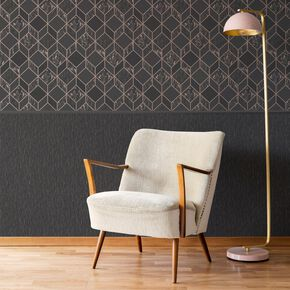 Vittorio Charcoal & Rose Gold Textured Plain Wallpaper, , wallpaperIT