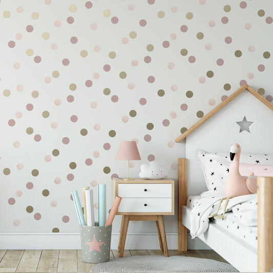 Dotty Polka Pink & Gold Wallpaper, , wallpaperIT
