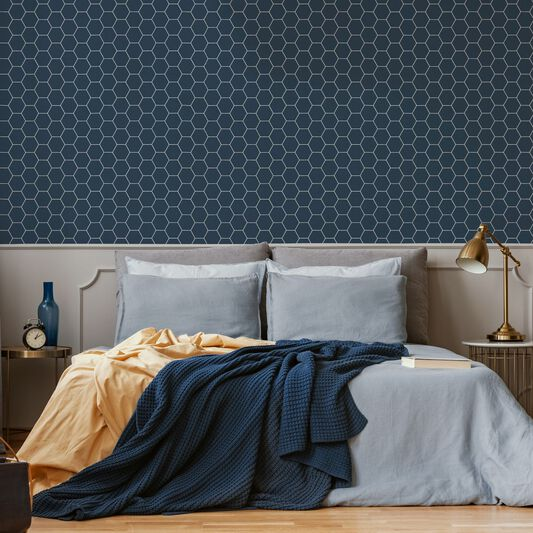 Honeycombe Blue Wallpaper, , wallpaperIT