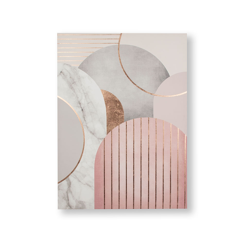 Pink & Grey Art Deco Geo Canvas Wall Art, , wallpaperIT