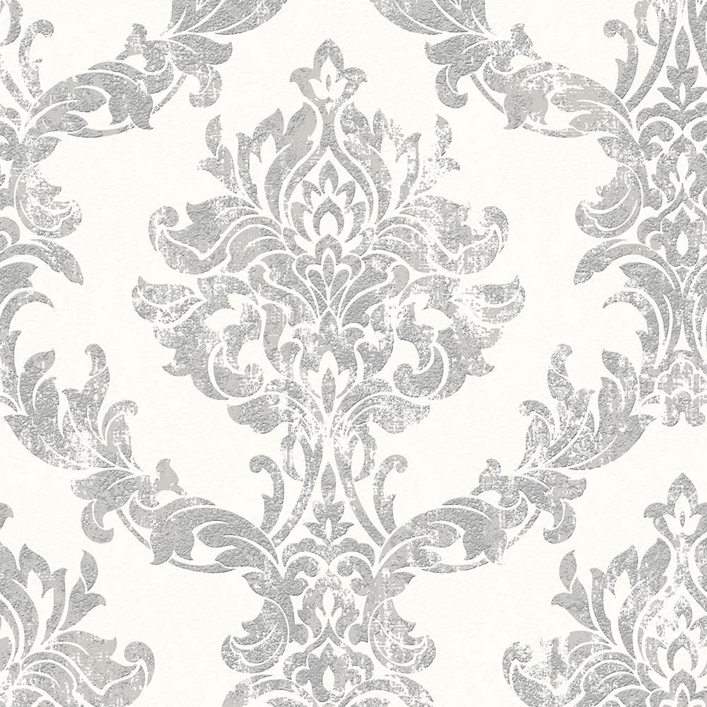 Opal Damask White and Silver Wallpaper, , wallpaperIT