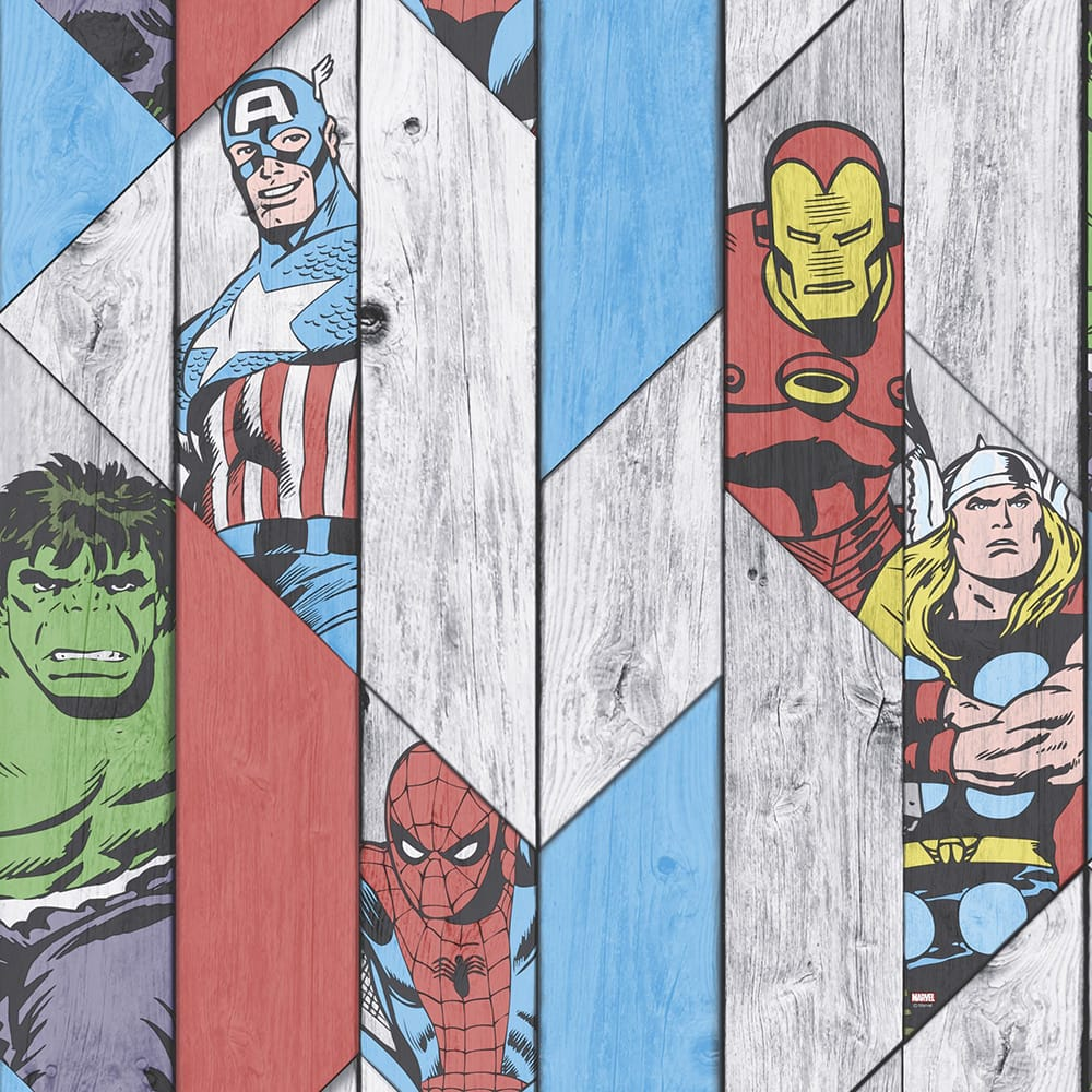 Marvel Wood Panel Wallpaper, , wallpaperIT