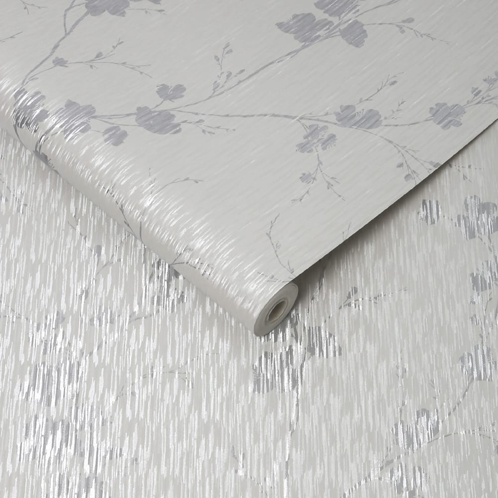 Theia Blossom Silver Wallpaper