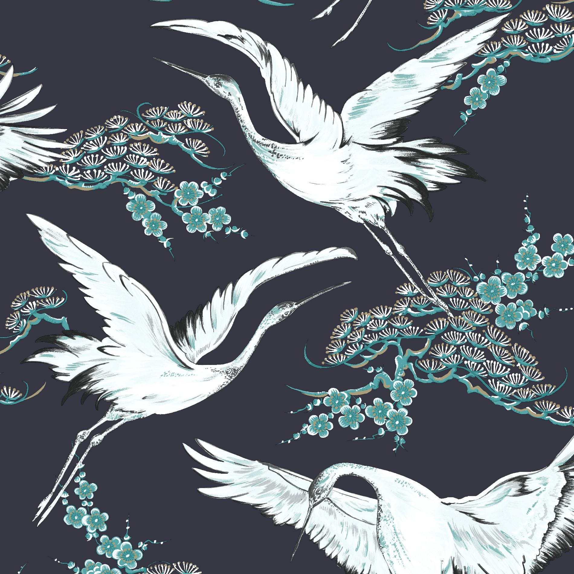 Crane Dark Blue Oriental Wallpaper, , wallpaperIT