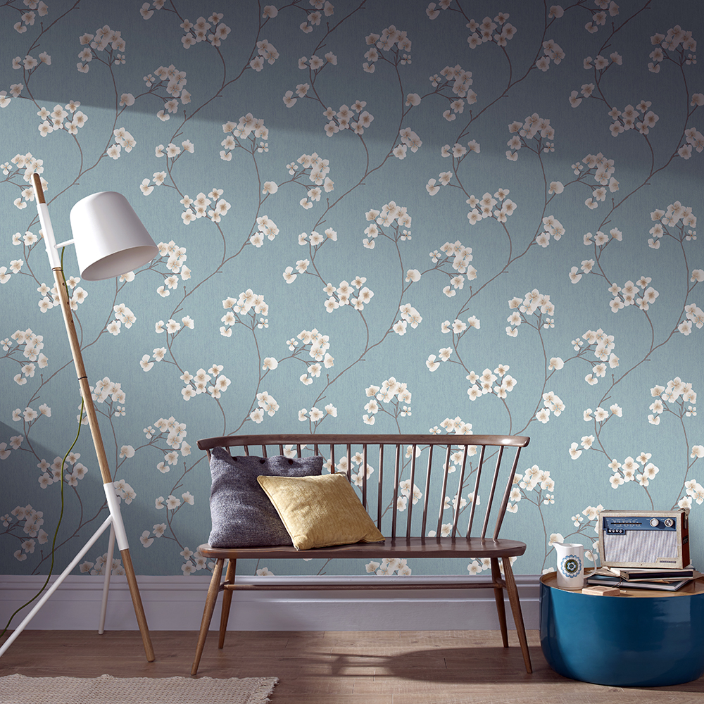 Radiance Blue and Cream Wallpaper, , wallpaperIT