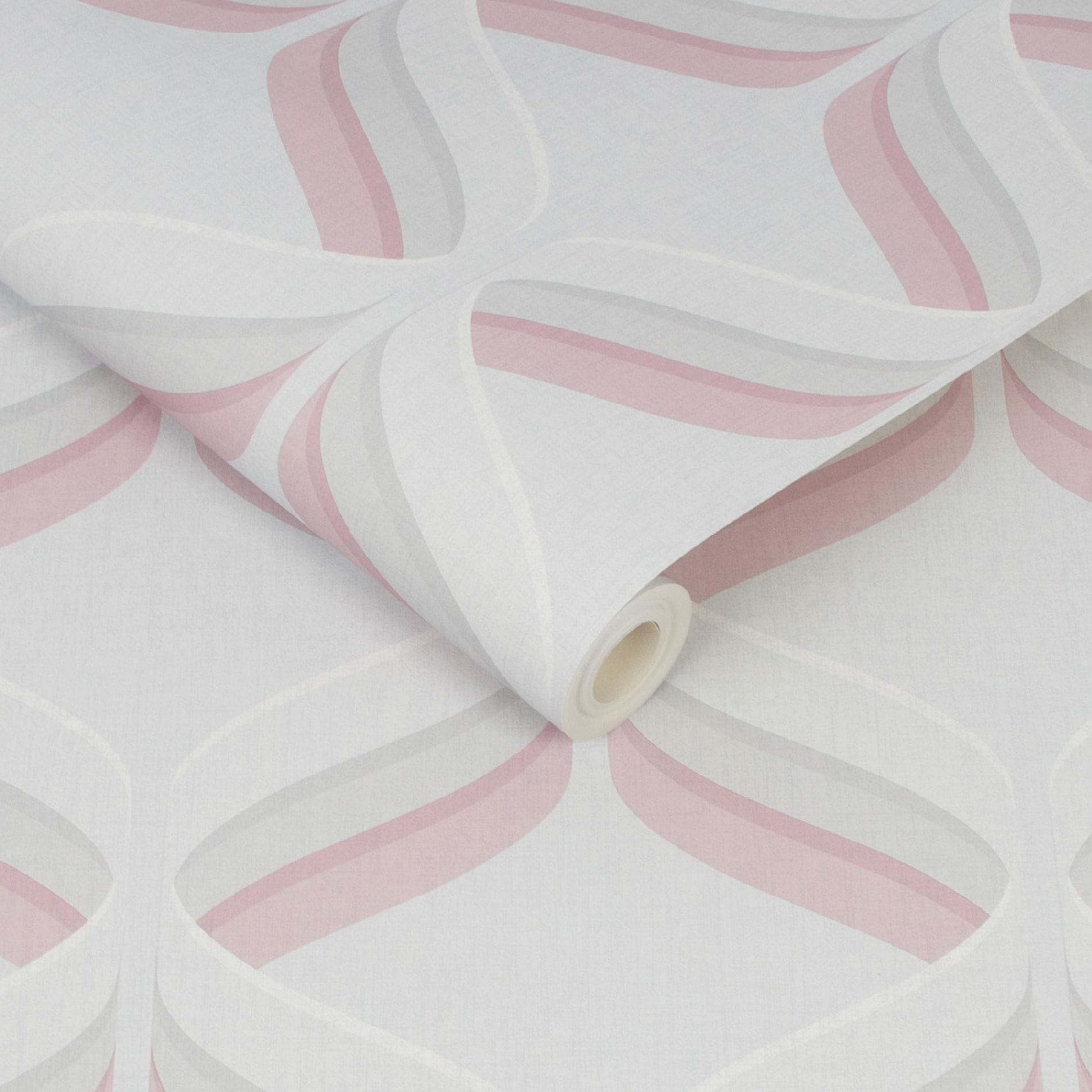 Fresco Retro Ogee Pink Geometric Wallpaper