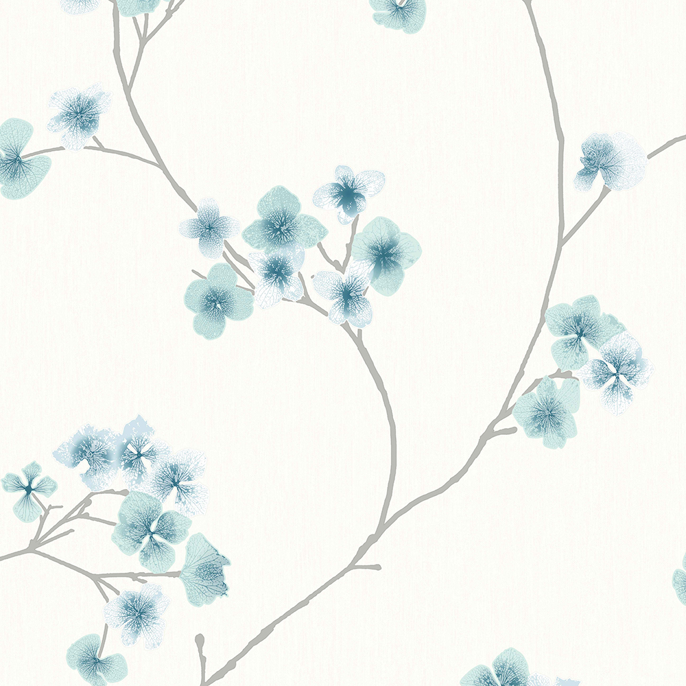 Radiance Teal and White Wallpaper, , wallpaperIT