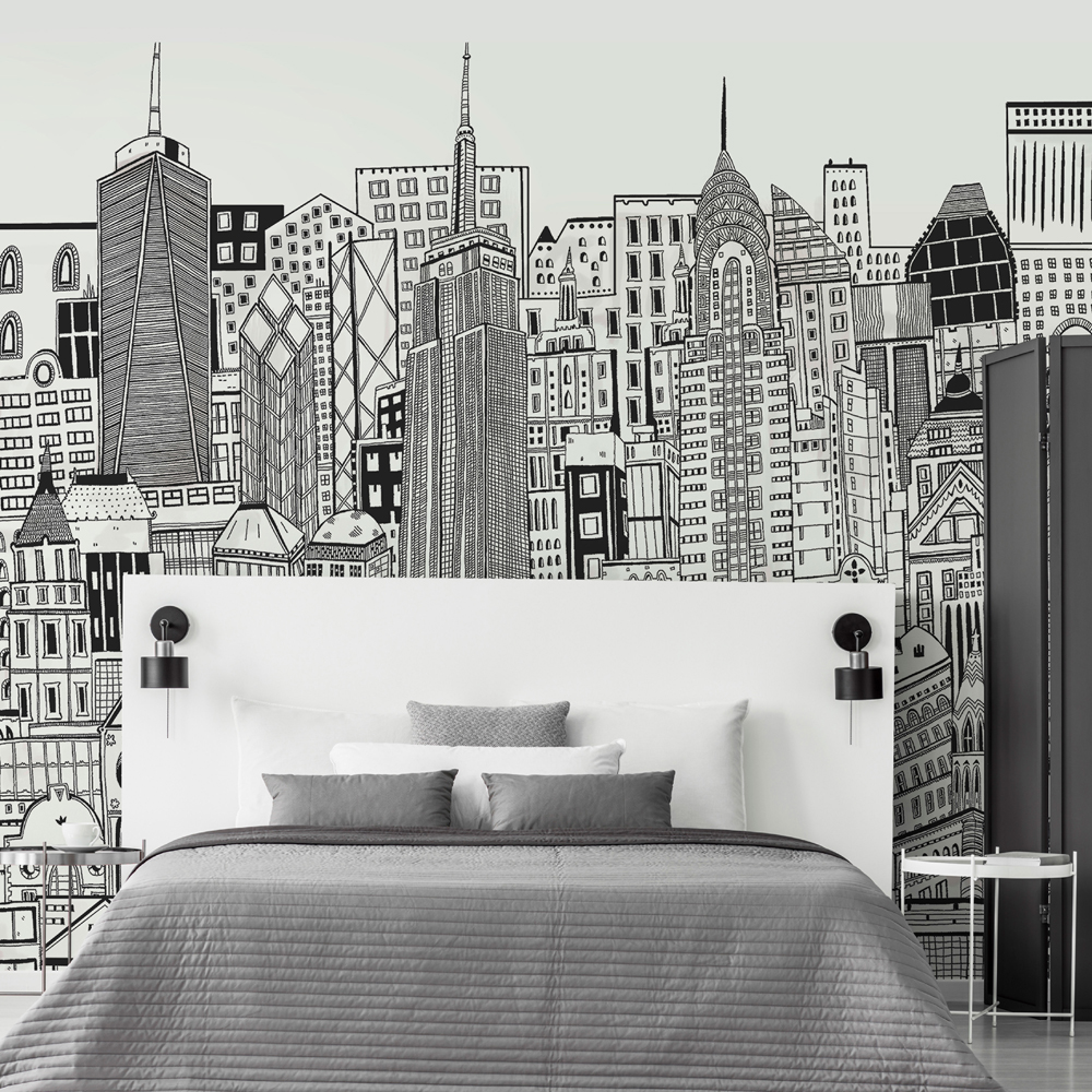 City Sketch Chalk Wall Mural, , wallpaperIT