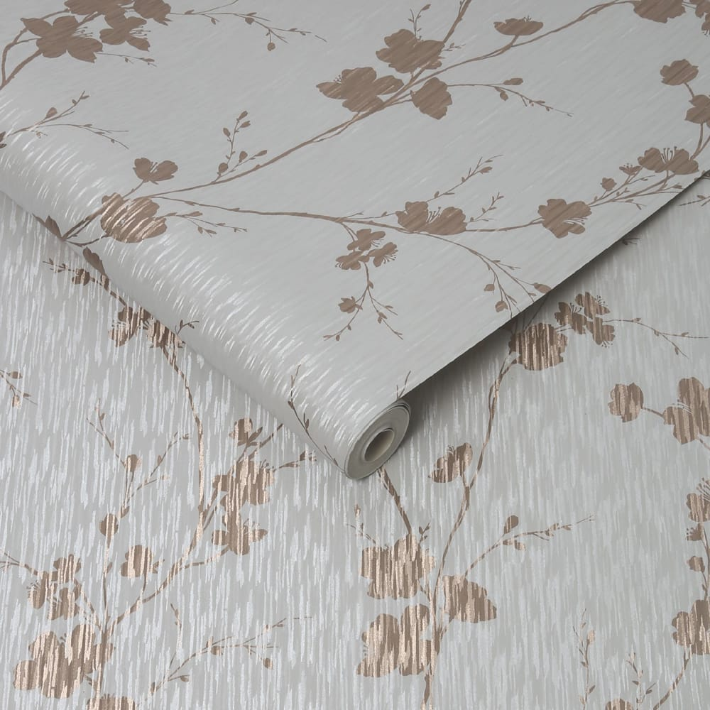 Theia Blossom Mist & Rose Gold Wallpaper
