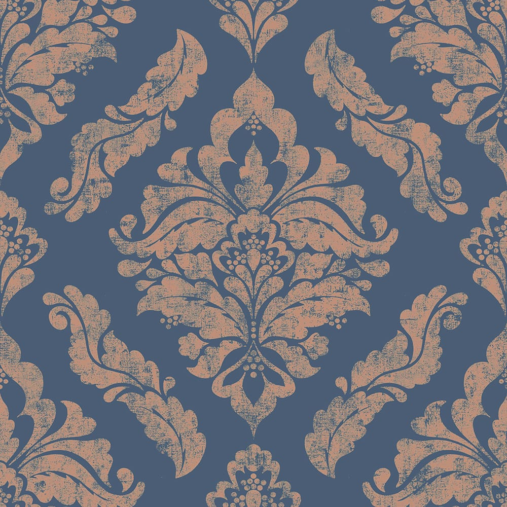 Damaris Blue & Gold Wallpaper, , wallpaperIT
