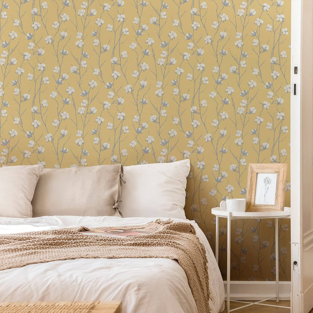 Cotton Flower Ochre Wallpaper, , wallpaperIT