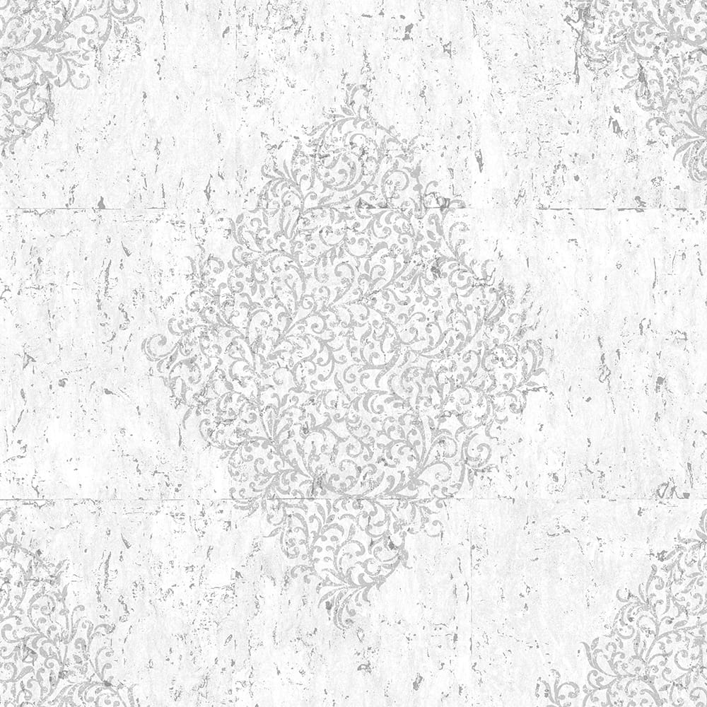 Light Grey & Silver Cork Medallion Wallpaper, , wallpaperIT