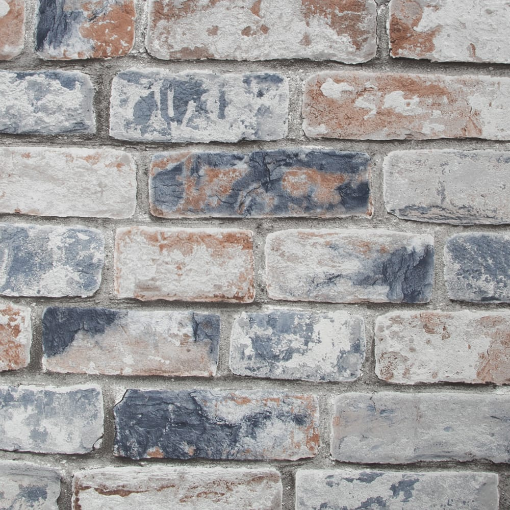 Distressed Brick Navy Red Wallpaper, , wallpaperIT