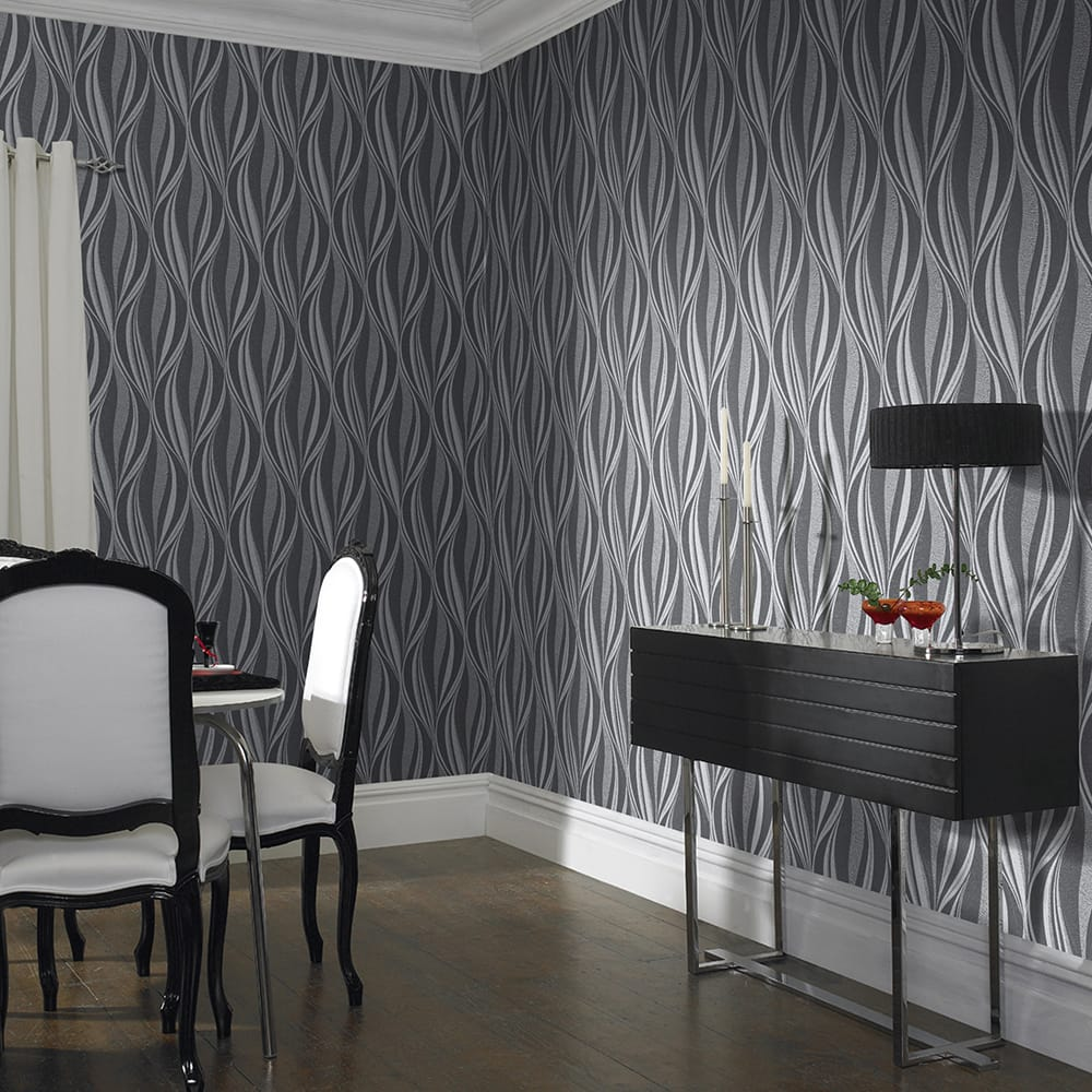 Tango Charcoal and Silver Wallpaper, , wallpaperIT
