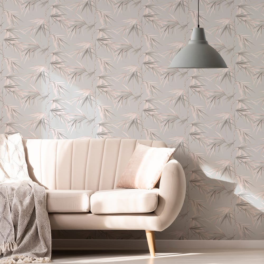 Watercolour Reed Grey & Pink Wallpaper, , wallpaperIT