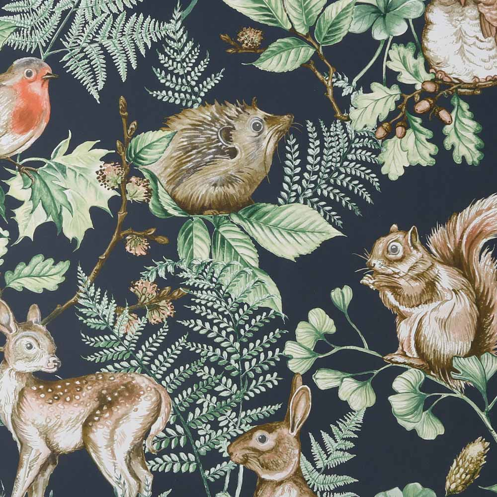 Woodland Animals Navy Wallpaper, , wallpaperIT