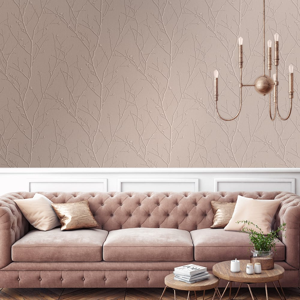 Water Silk Sprig Rose Gold Wallpaper, , wallpaperIT