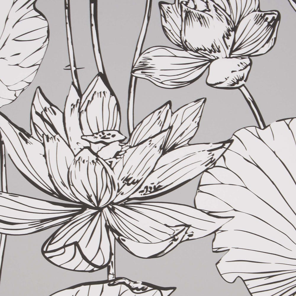 Transform Gray Illustrative Floral Wallpaper, , wallpaperIT