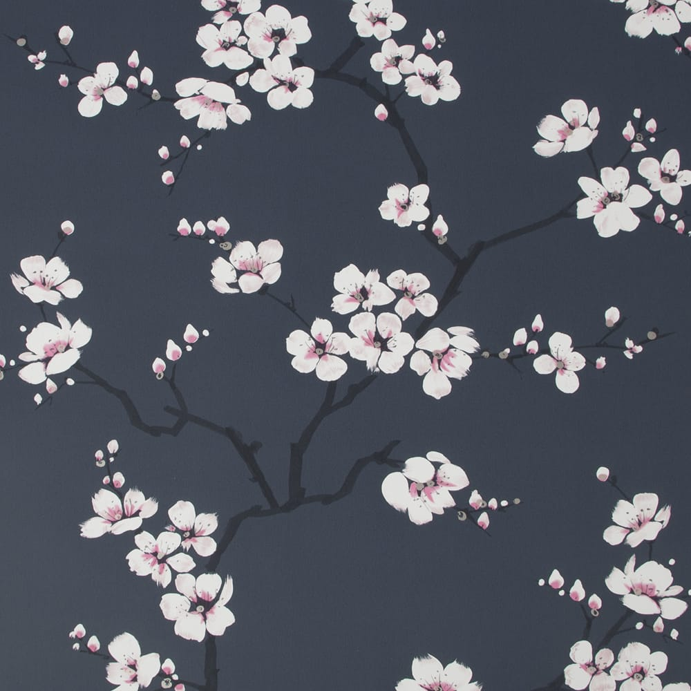 Apple Blossom Navy Wallpaper, , wallpaperIT