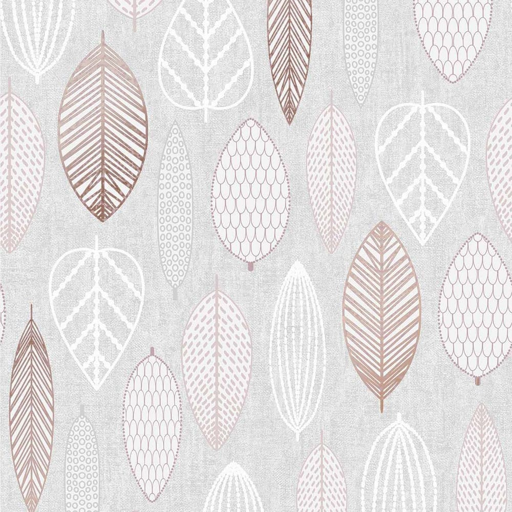 Scandi Leaf Pink Wallpaper, , wallpaperIT