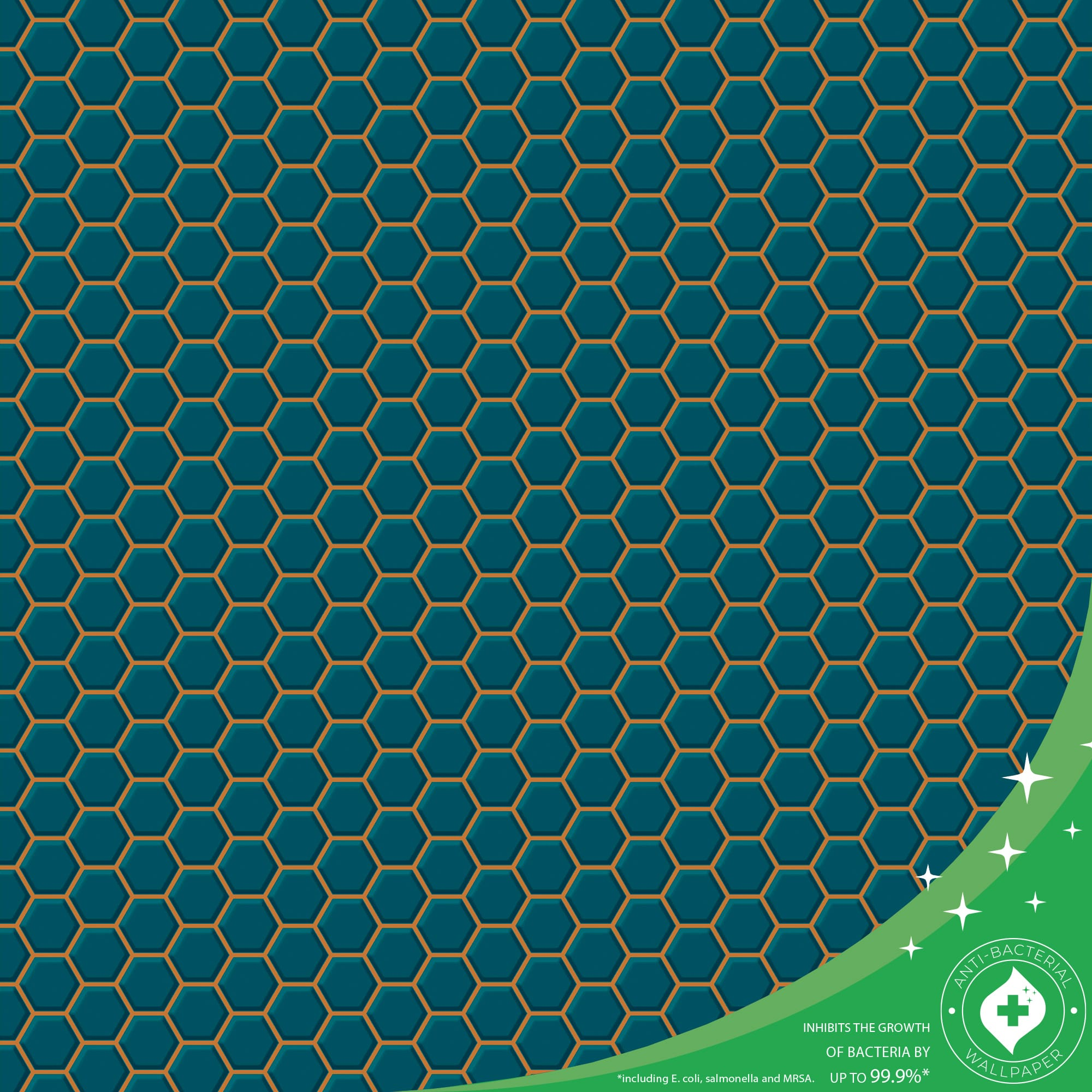 Hexagon Lattice Teal Wallpaper, , wallpaperIT
