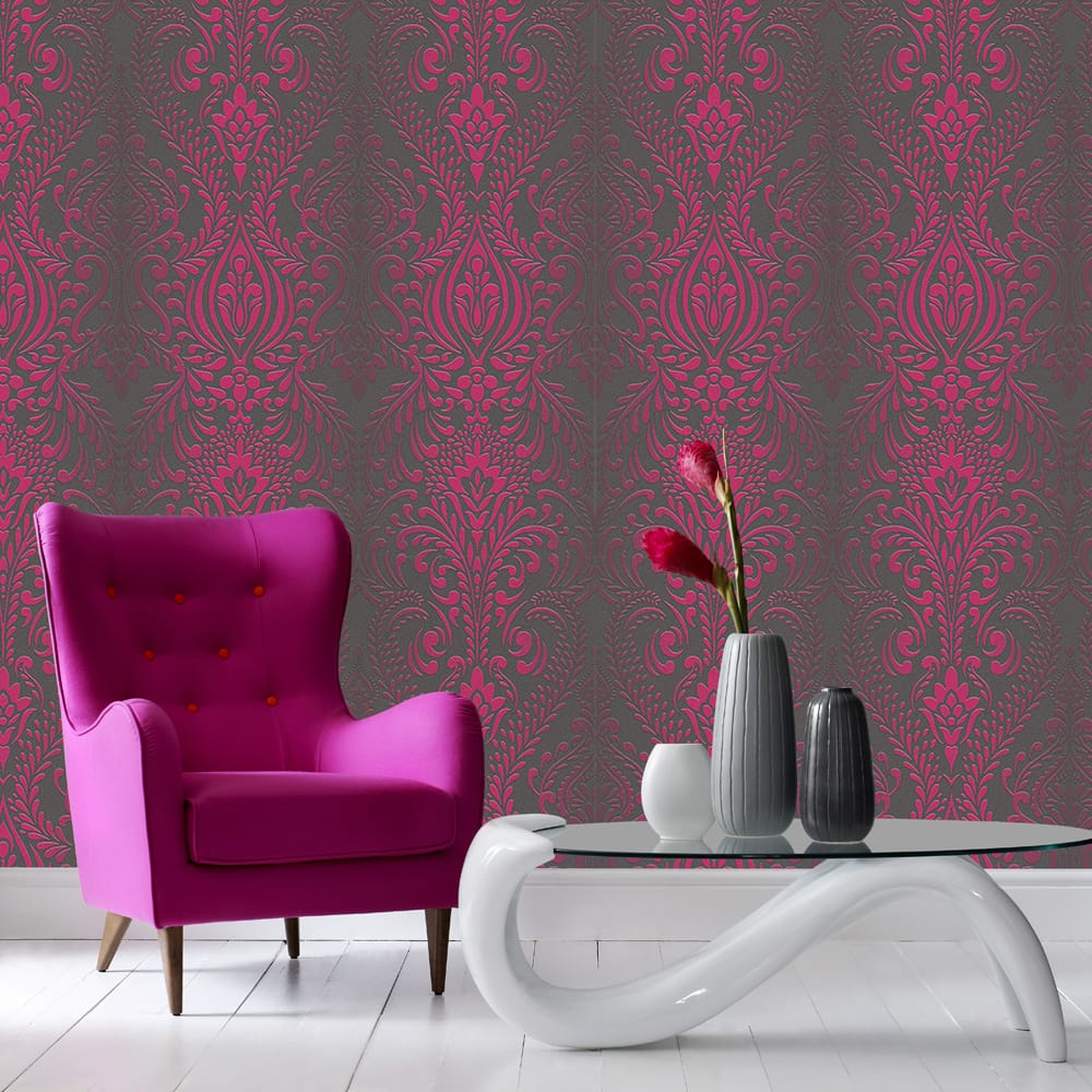 Glamour Damask Black and Pink Wallpaper, , wallpaperIT