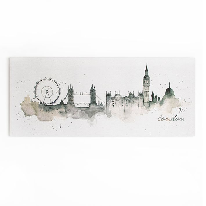 London Watercolour Printed Canvas Wall Art, , wallpaperIT