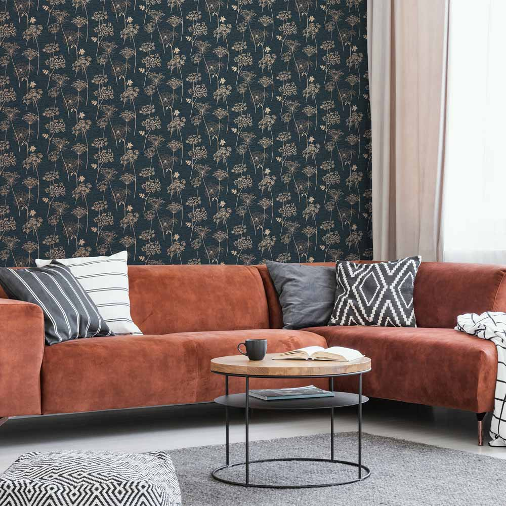 Wild Flower Navy Wallpaper, , wallpaperIT
