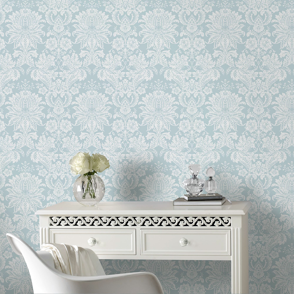 Venetian Damask Blue Wallpaper, , wallpaperIT