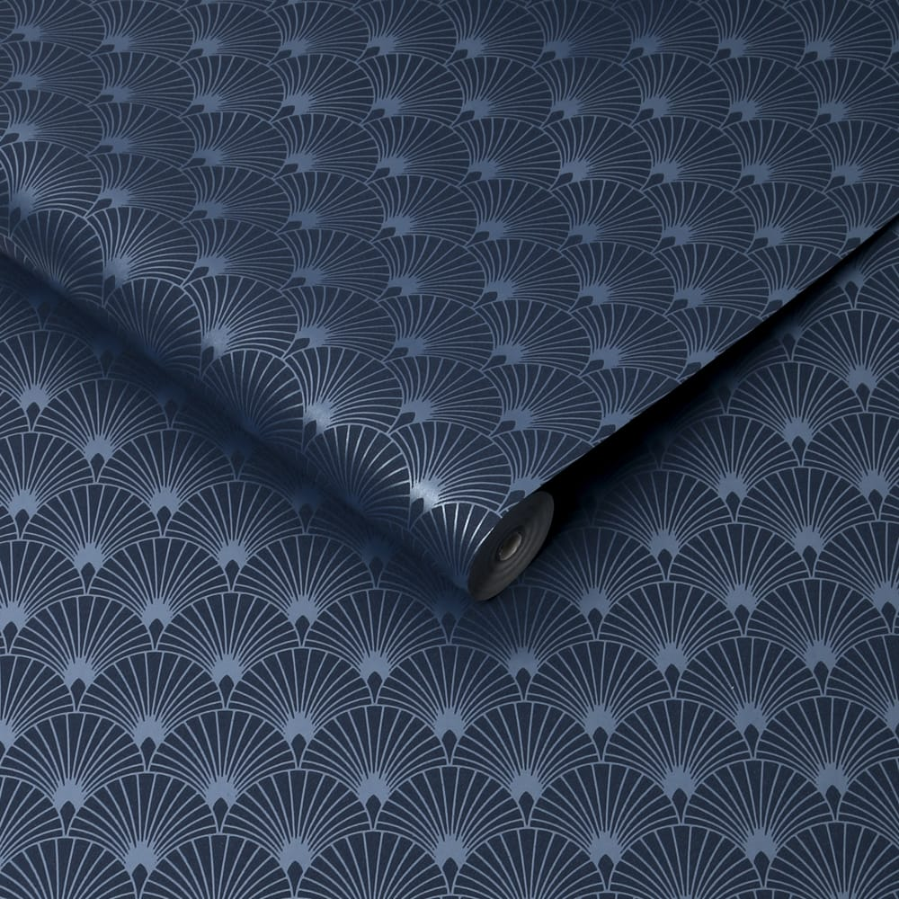 Ecailles Gatsby Blue Mica Wallpaper