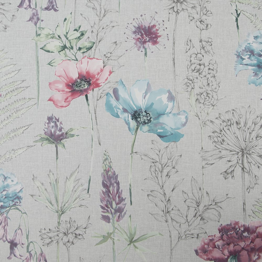 Floral Sketch Grey Wallpaper, , wallpaperIT